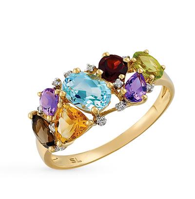 золотое кольцо с бриллиантами, аметистами, гранатами, кварцами дымчатыми, топазами, цитринами и хризолитами SUNLIGHT