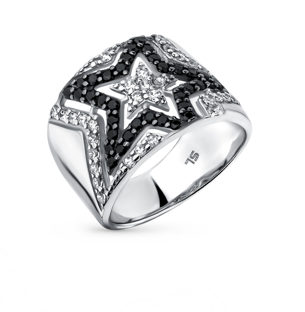 Фото «серебряное кольцо с шпинелями синтетическими и фианитами»