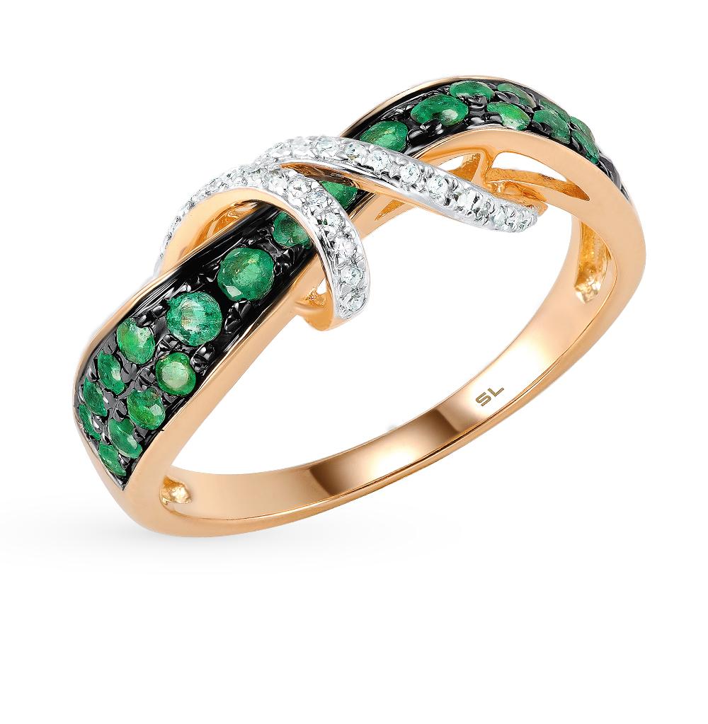 Фото «золотое кольцо с бриллиантами, фианитами, изумрудами и жемчугом»