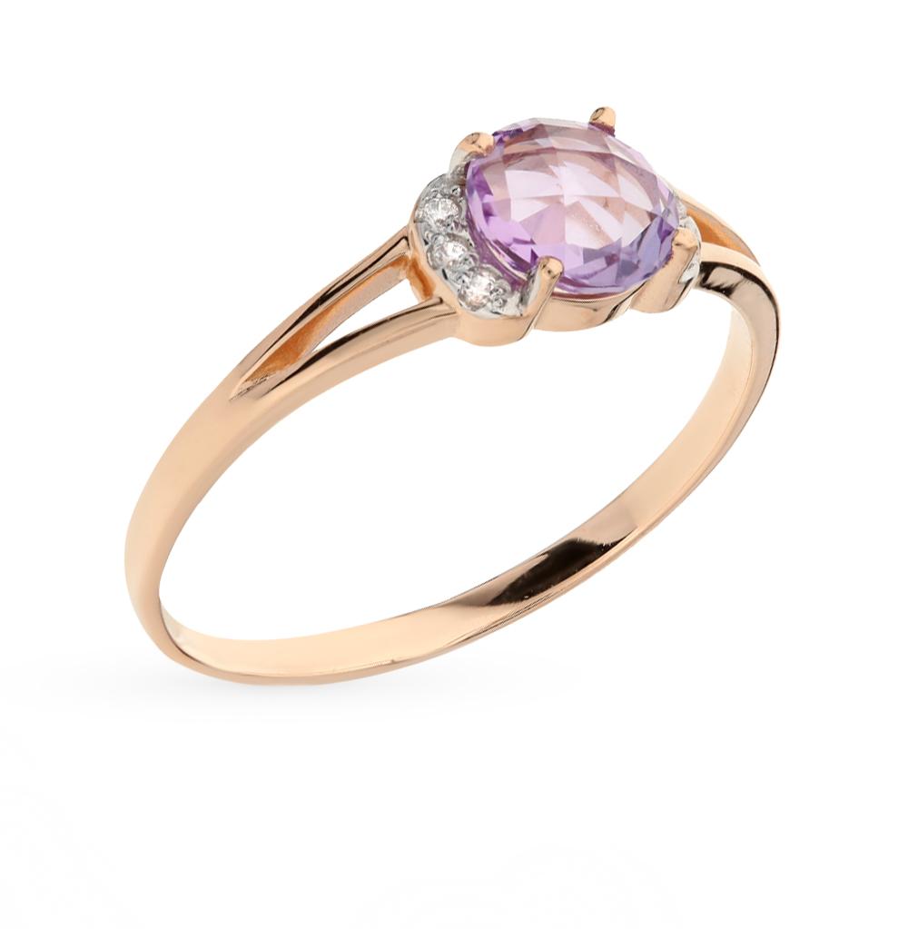Фото «кольцо с аметистами и фианитами»