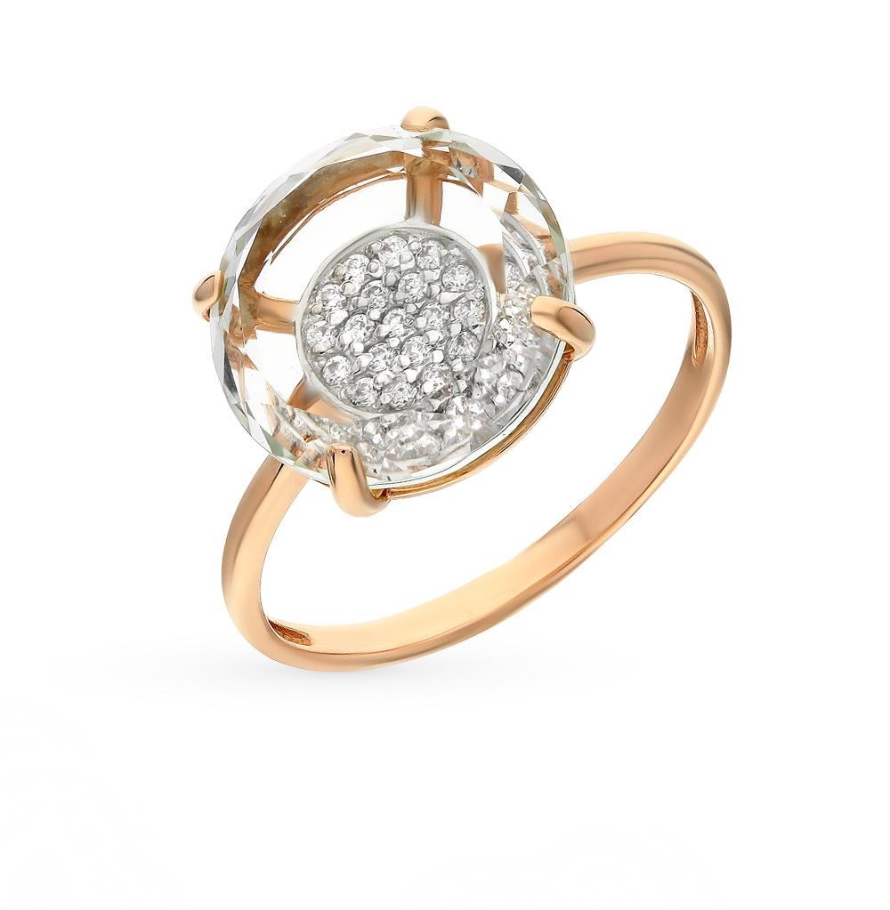 Фото «золотое кольцо с аметистом, фианитами и раухтопазами (кварцами дымчатый)»
