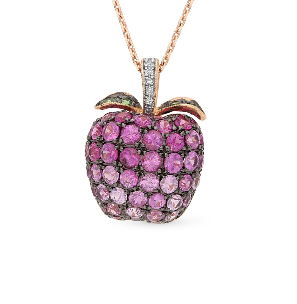 Фото «золотая подвеска с бриллиантами, гранатами и сапфирами»
