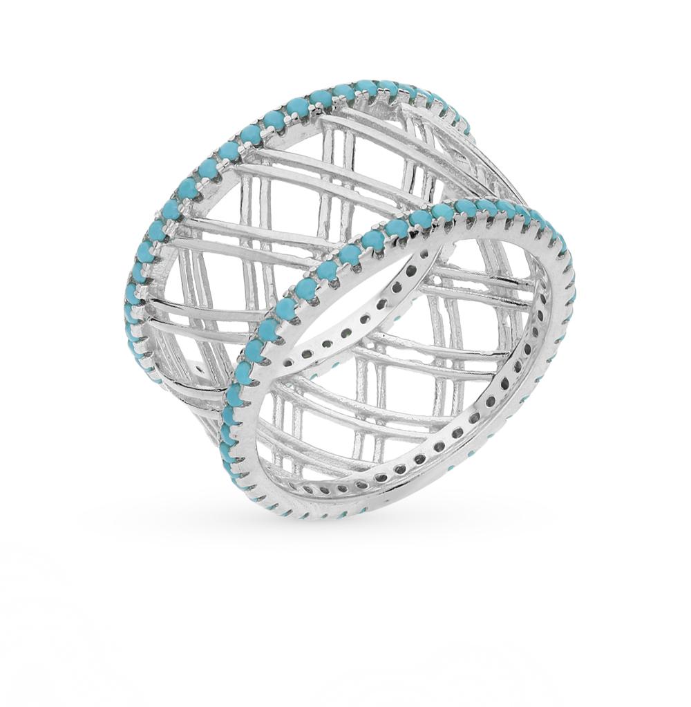Фото «серебряное кольцо с бирюза имитациями»