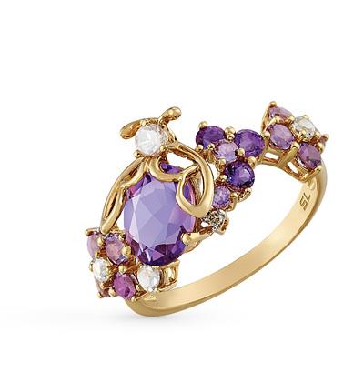 Фото «золотое кольцо с бриллиантами, аметистами, кварцами и топазами»