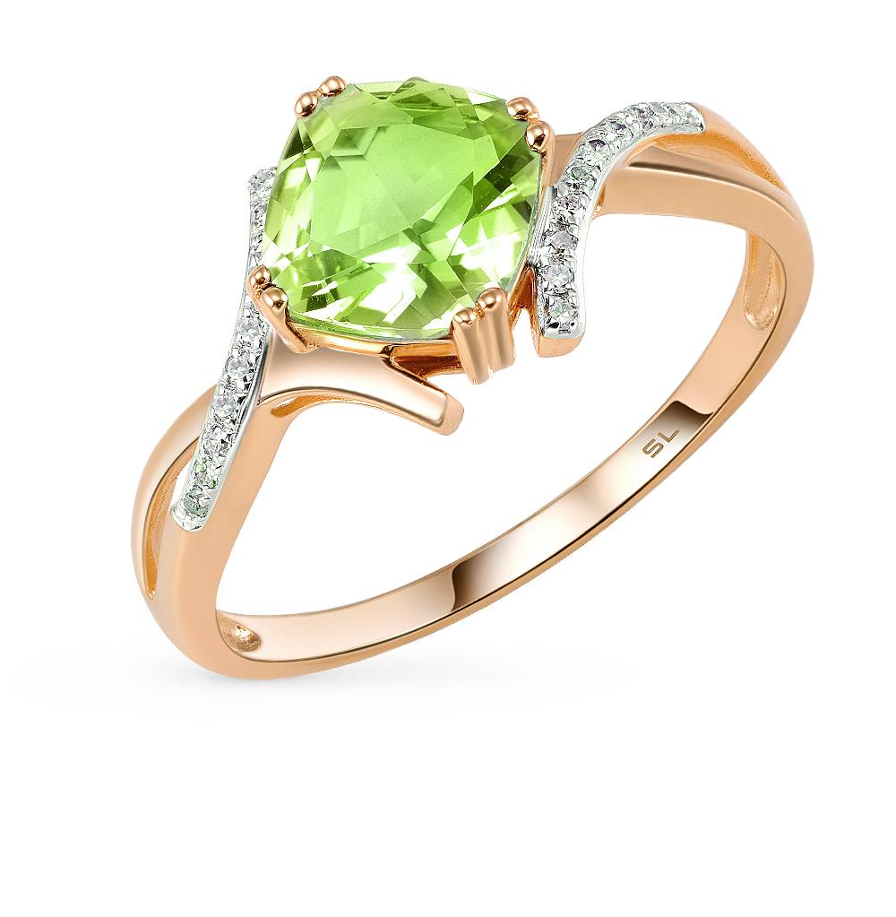 Фото «золотое кольцо с бриллиантами и султанитами синтетическими»