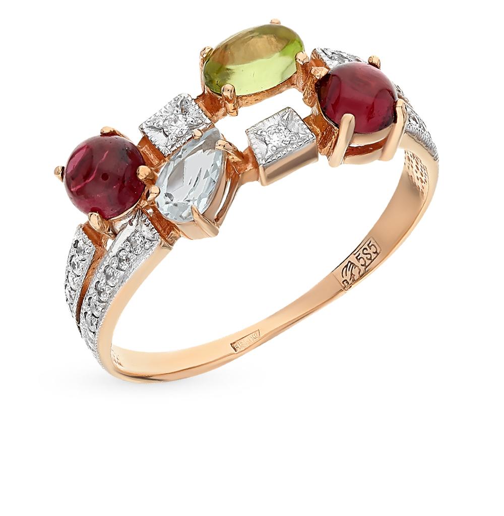 Фото «золотое кольцо с гранатами, топазами, фианитами и хризолитами»