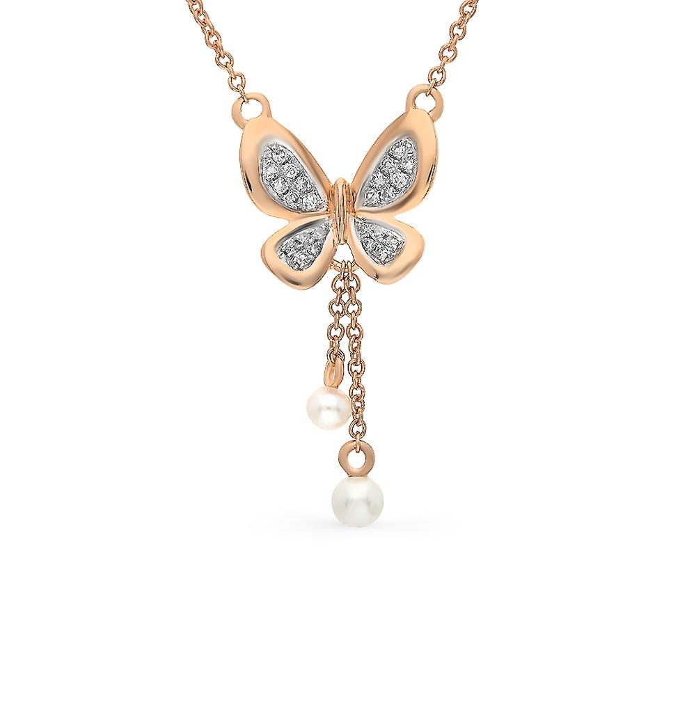 золотое шейное украшение с жемчугом и бриллиантами SUNLIGHT