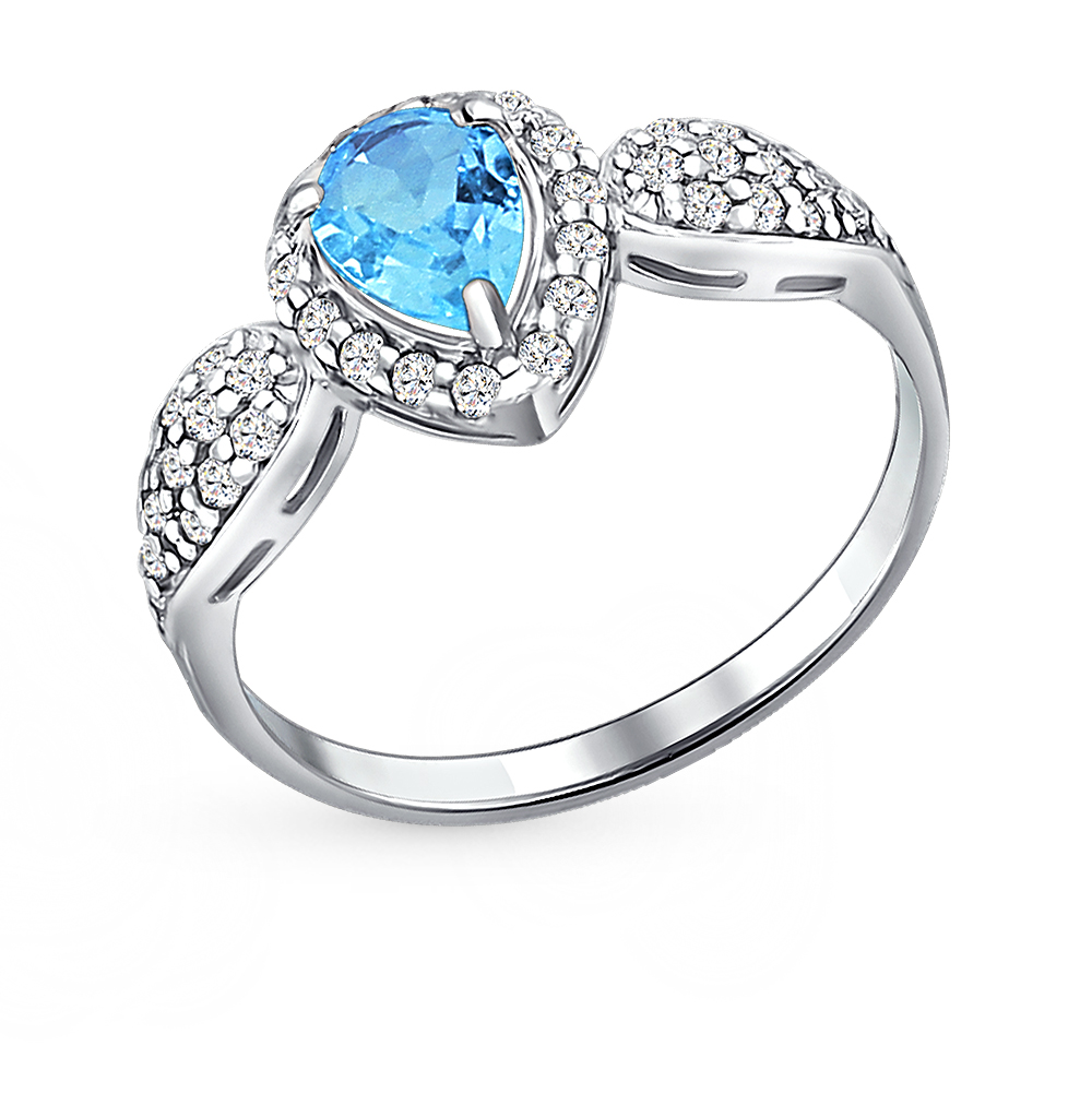 Фото «кольцо с топазами и фианитами»