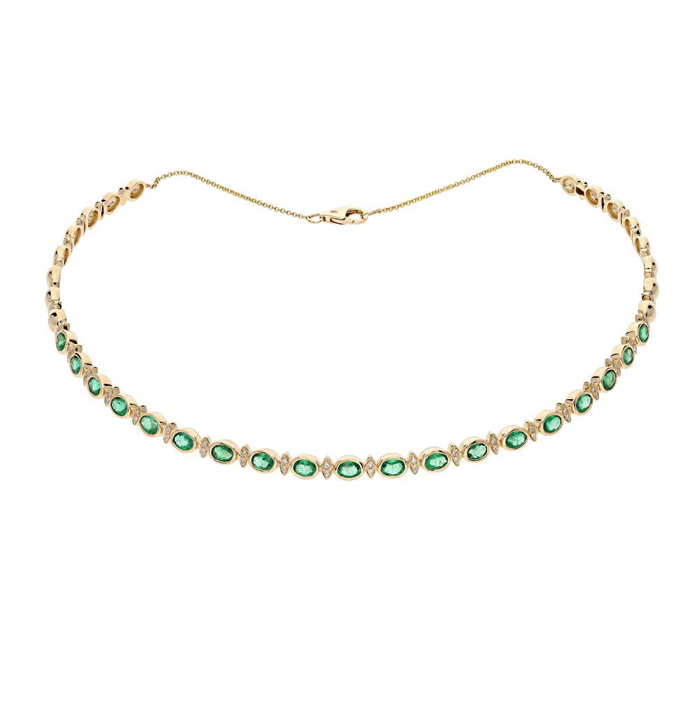 золото шейное украшение с изумрудами и бриллиантами SUNLIGHT