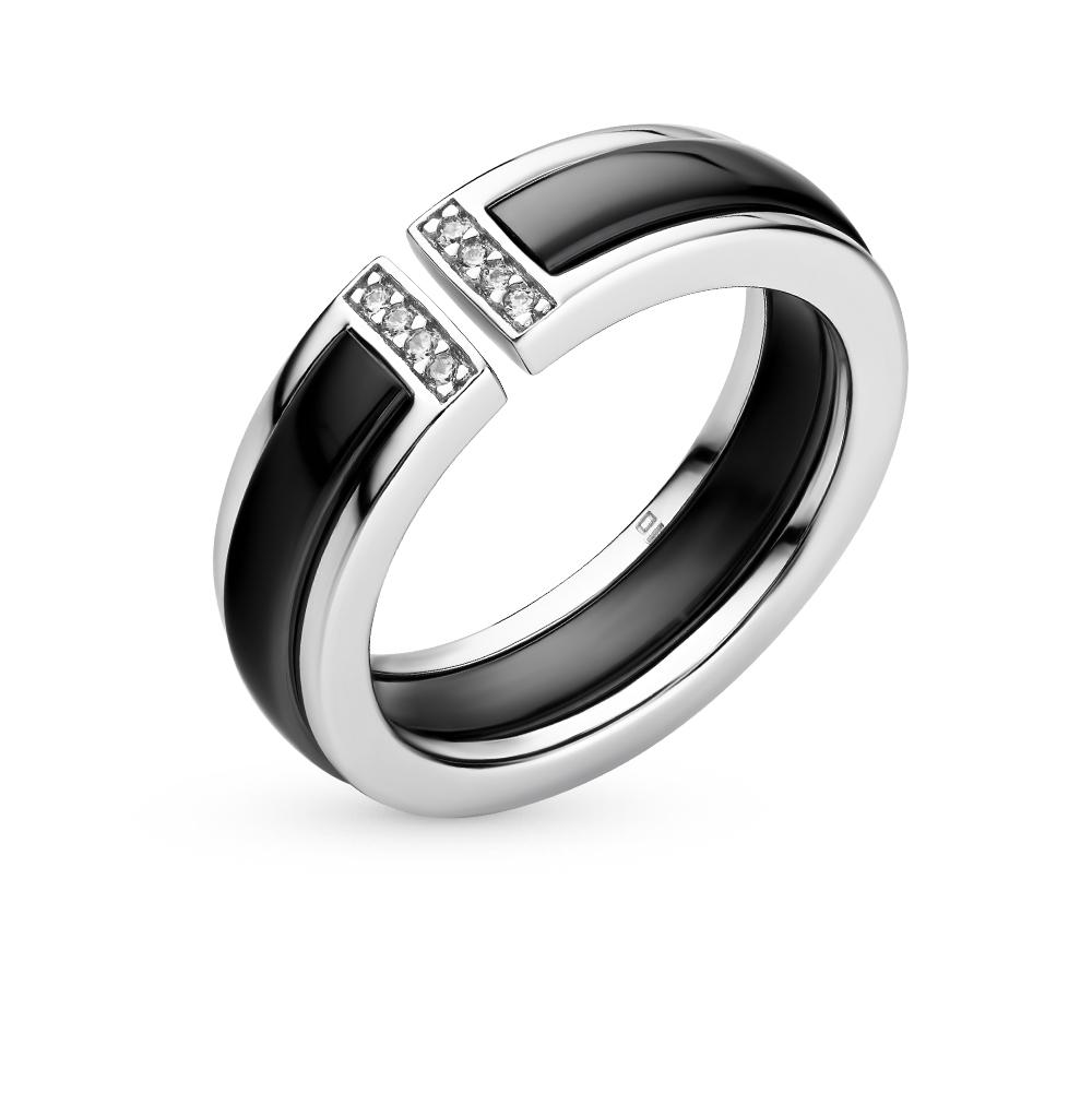 Фото «кольцо из серебра с фианитом и керамикой»