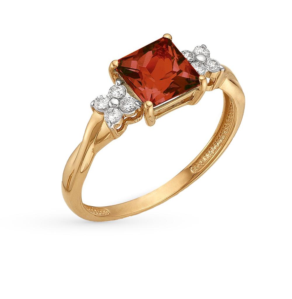 Фото «золотое кольцо с гранатами и фианитами»