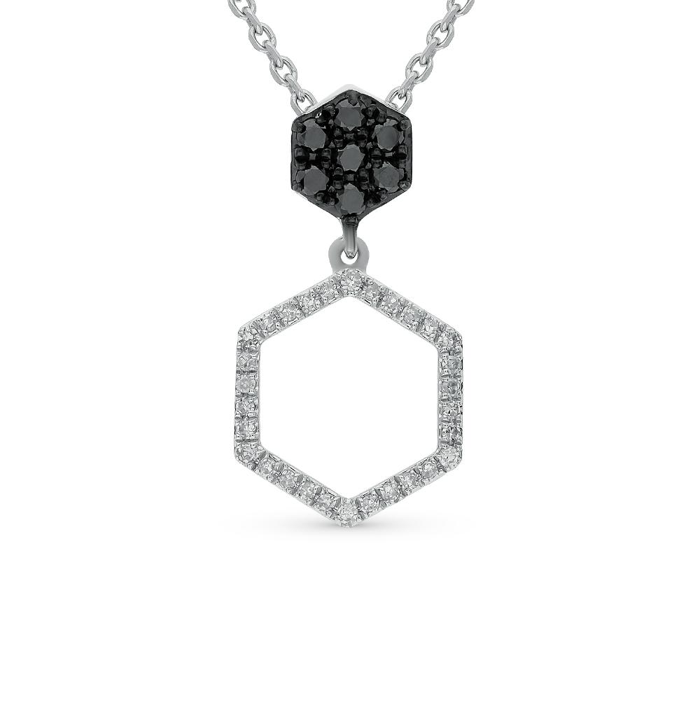золотое шейное украшение с чёрными бриллиантами и бриллиантами SUNLIGHT