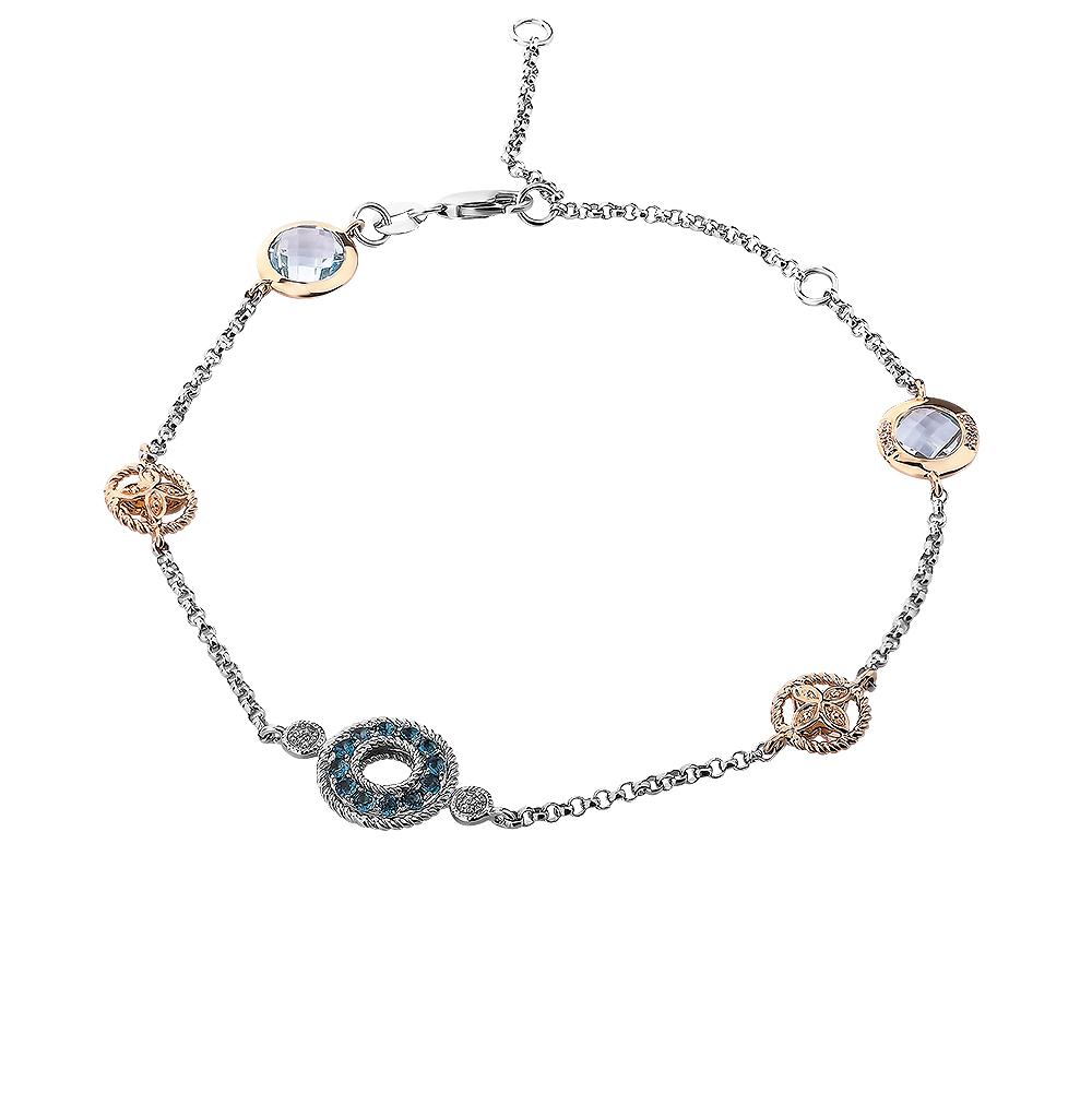 Фото «золотой браслет с бриллиантами и топазами»