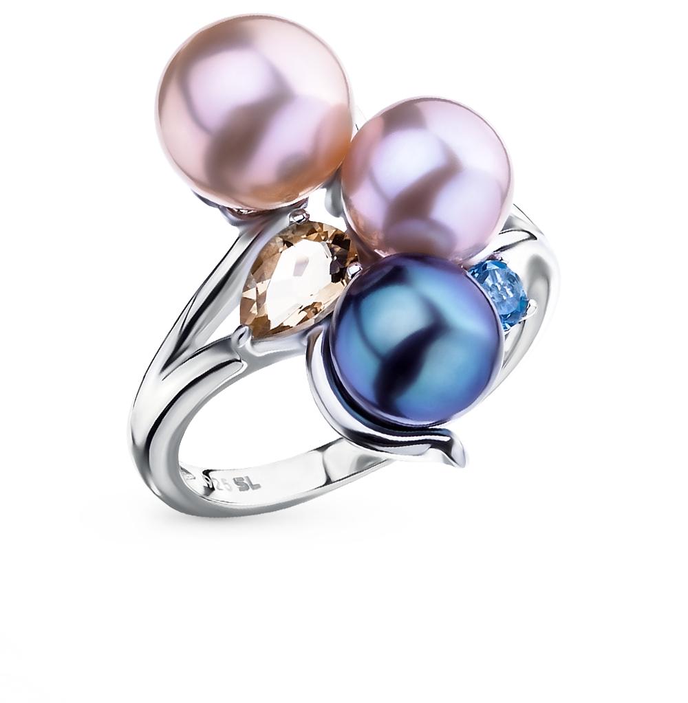 Фото «серебряное кольцо с топазами и жемчугом»