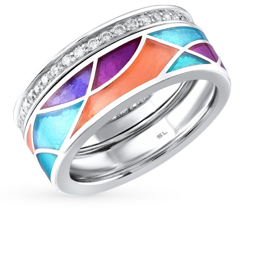 Фото «серебряное кольцо с фианитами и витражными эмалями»