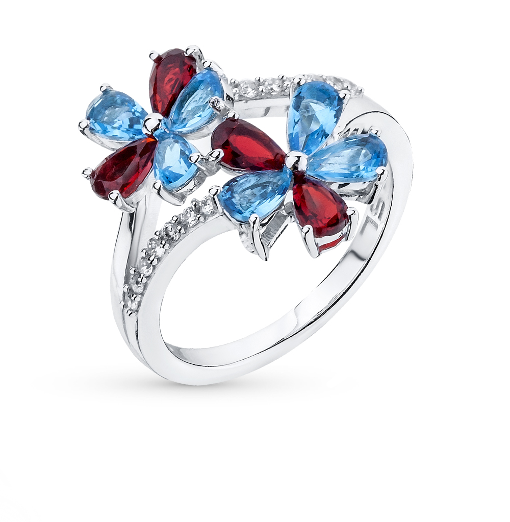 Фото «серебряное кольцо с гранатами синтетическими, топазами синтетическими и фианитами»