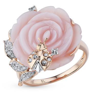 Фото «золотое кольцо с топазами, перламутром и бриллиантами»