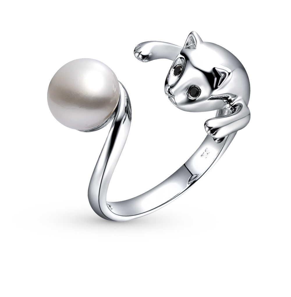 Фото «серебряное кольцо с фианитами и жемчугами культивированными»
