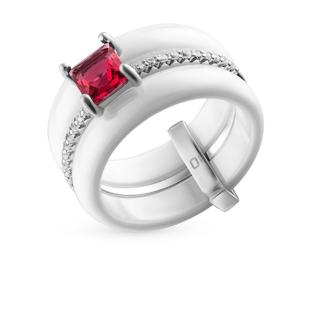 Фото «кольцо из серебра и керамики с алпанитом и фианитом»