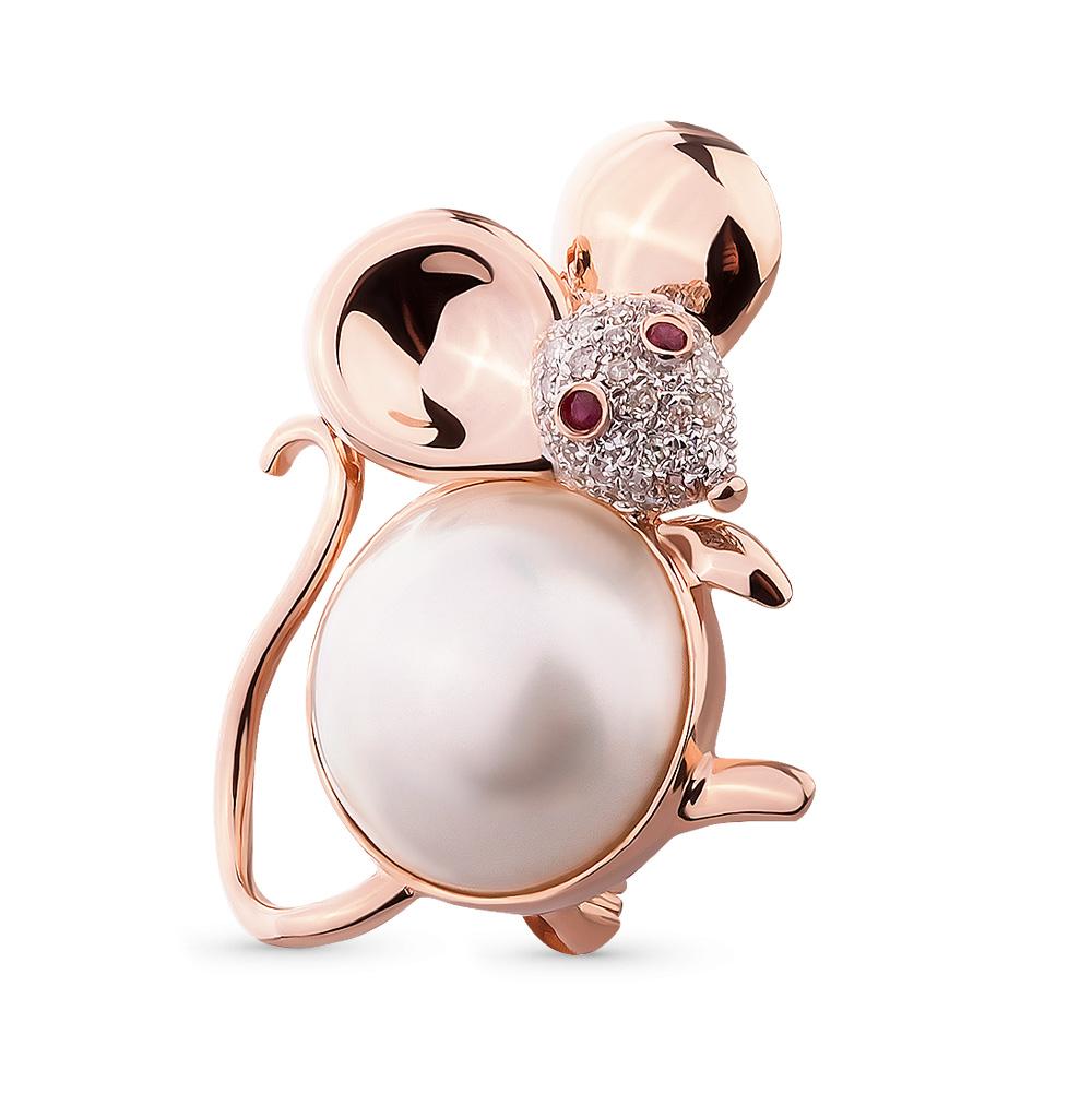 Фото «золотая брошь с бриллиантами и рубинами»