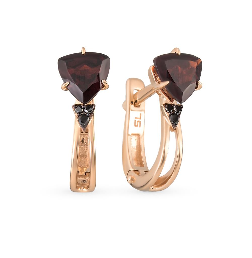 Фото «золотые серьги с чёрными бриллиантами, гранатом и бриллиантами»