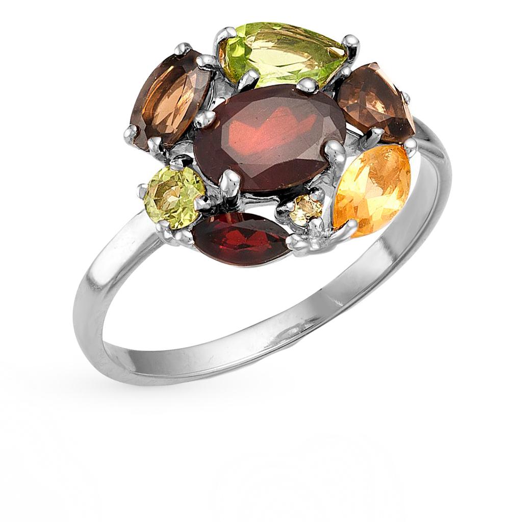 Фото «серебряное кольцо с гранатами, цитринами и хризолитами»