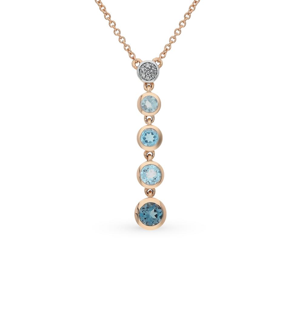 золото шейное украшение с топазами и бриллиантами SUNLIGHT
