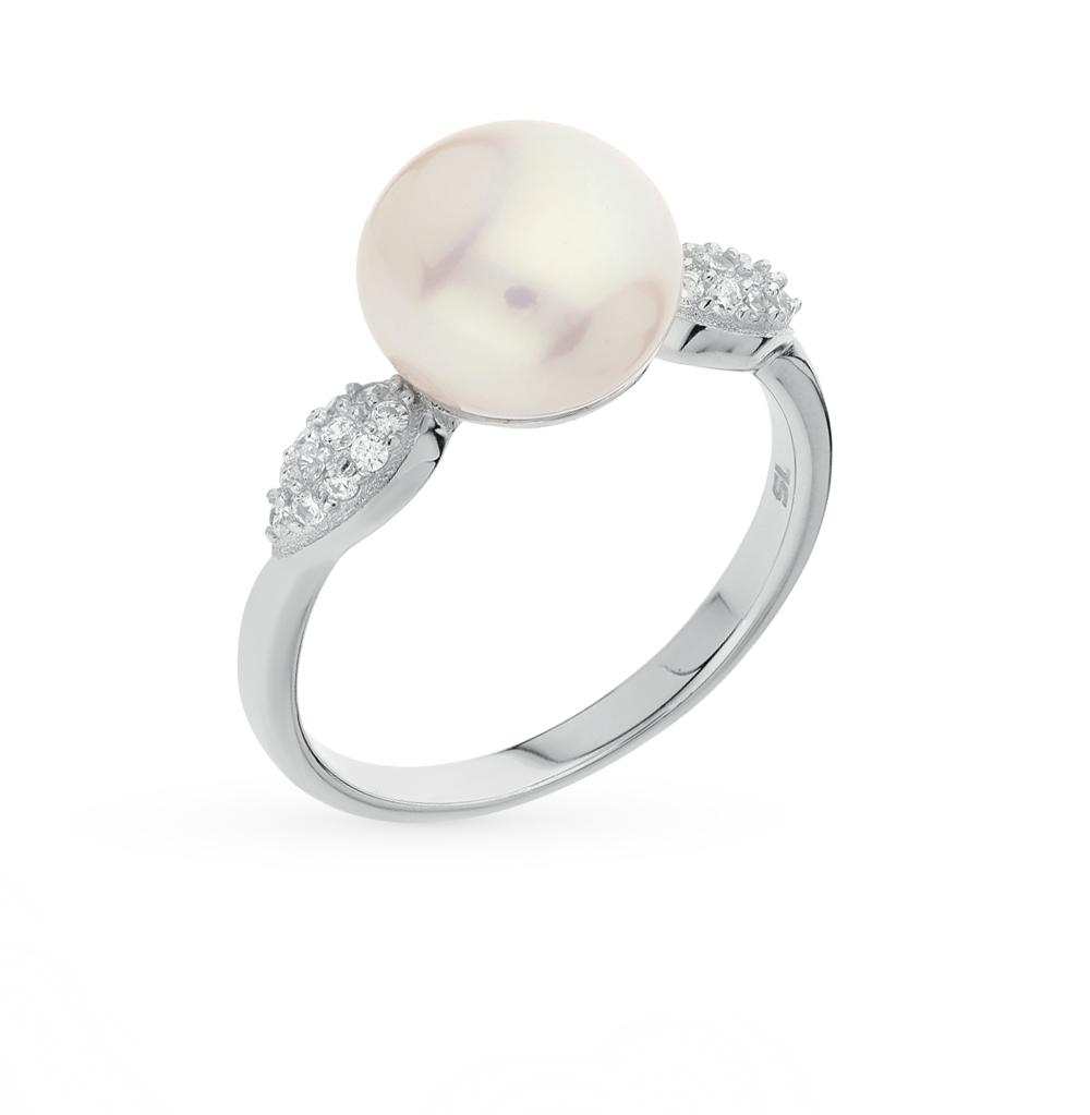 Фото «серебряное кольцо с фианитами и жемчугом культивированными»