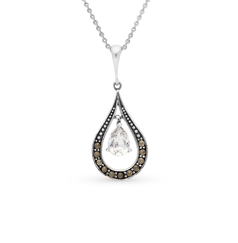 Фото «серебряная подвеска с марказитами и кристаллами swarovski»