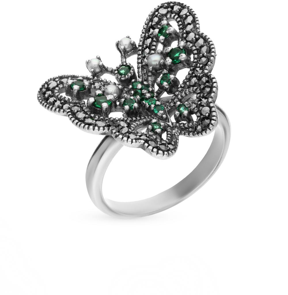 Фото «серебряное кольцо с бериллами, марказитами и жемчугом»