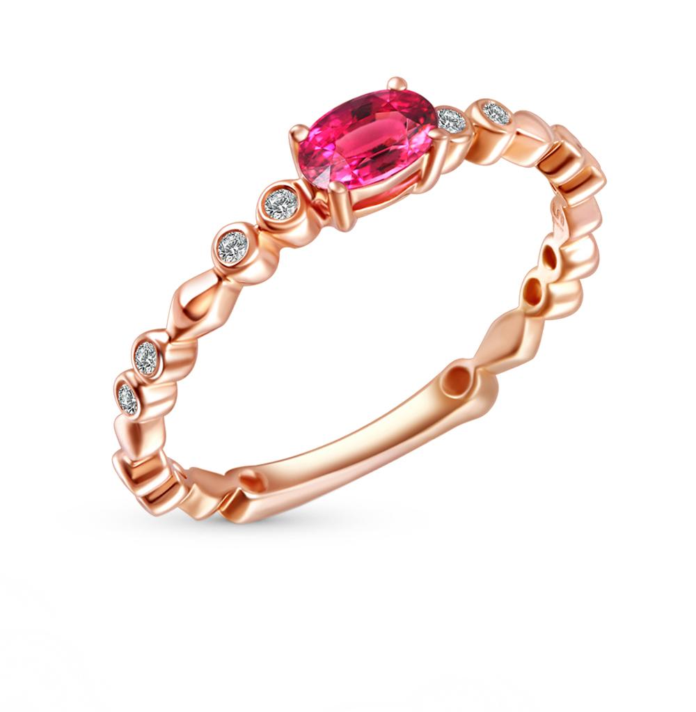 Фото «золотое кольцо с бриллиантами и родолитами»