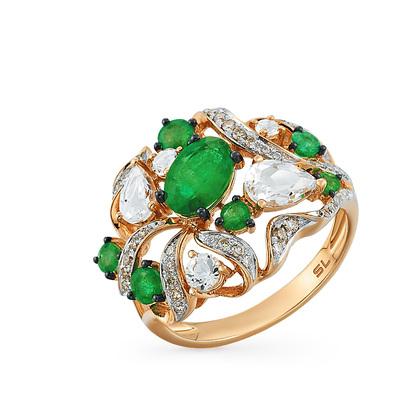 Фото «золотое кольцо с топазами и изумрудами»