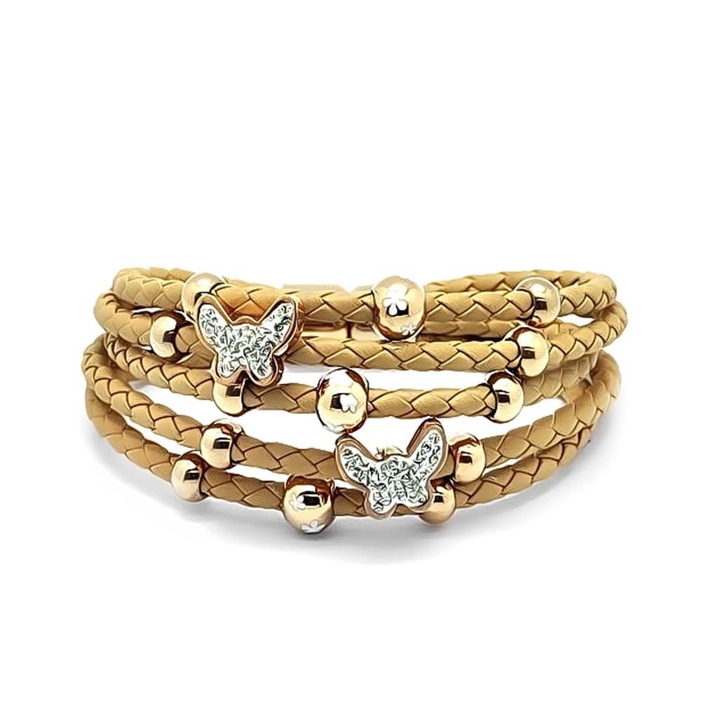 Фото «кожаный браслет с алпанитами, сталями, фианитами и эмалью»