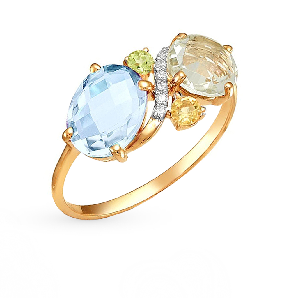 Фото «золотое кольцо с аметистами, цитринами, топазами и хризолитами»