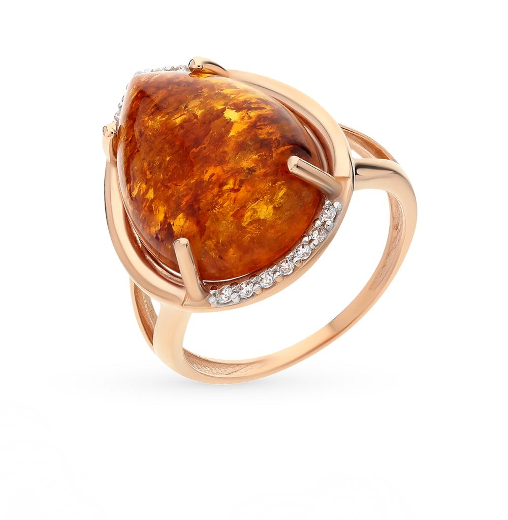 Фото «золото кольцо с янтарем и фианитами»