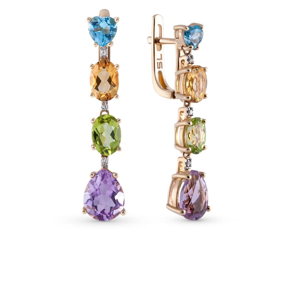 Фото «золотые серьги с бриллиантами, аметистами, цитринами, топазами и хризолитами»