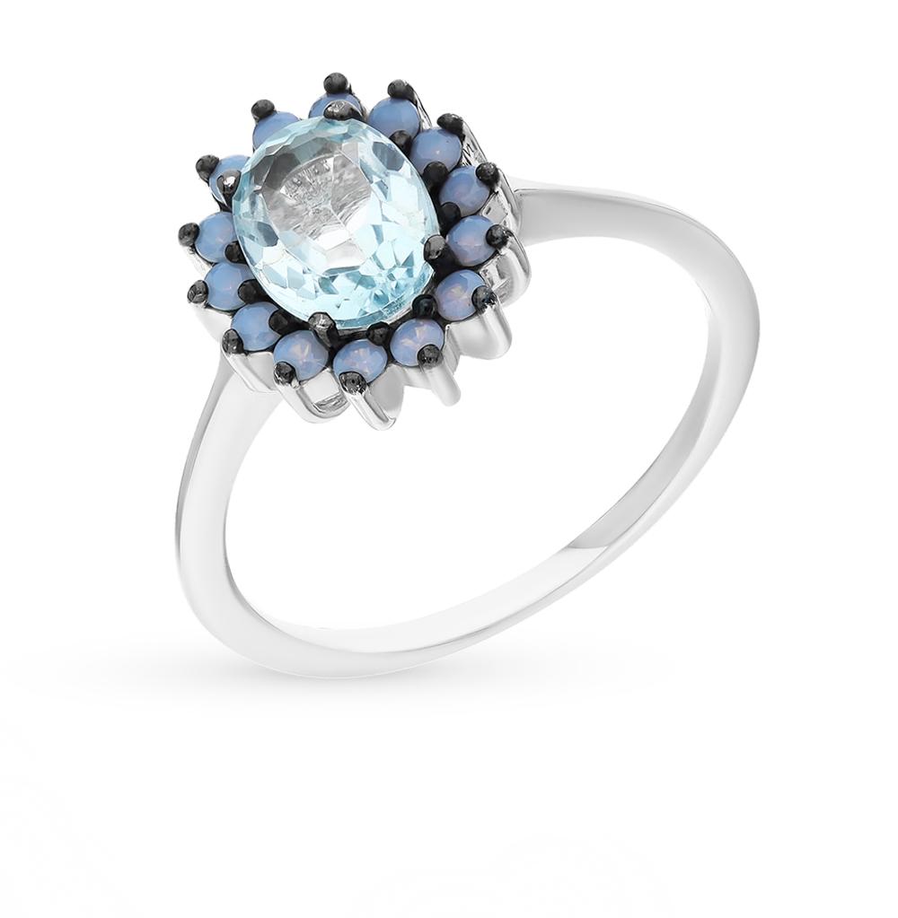 Фото «серебряное кольцо с опалами синтетическими и топазами»