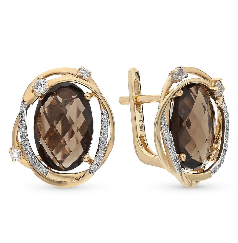 Фото «золотые серьги с бриллиантами, топазами и раухтопазами (кварцами дымчатый)»