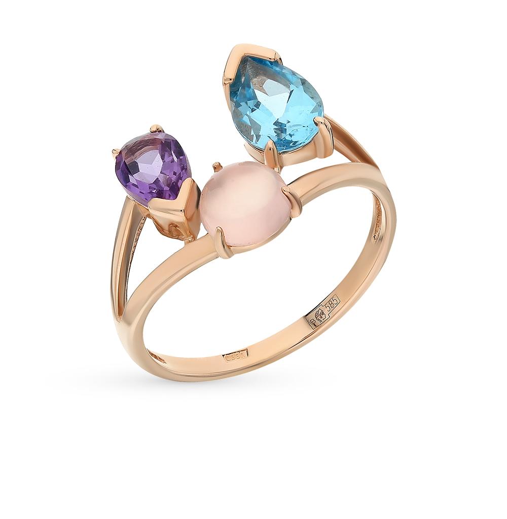 золото кольцо с аметистом, кварцем и топазами SUNLIGHT