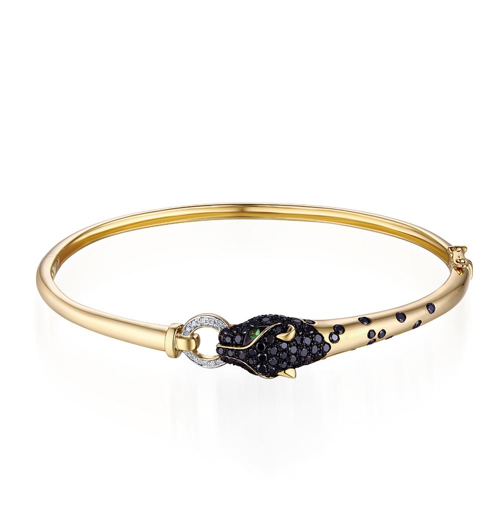золотой браслет с чёрными бриллиантами, гранатом и бриллиантами SUNLIGHT