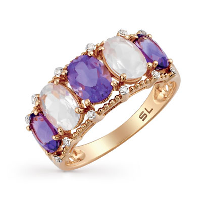Фото «золотое кольцо с аметистами и кварцами»