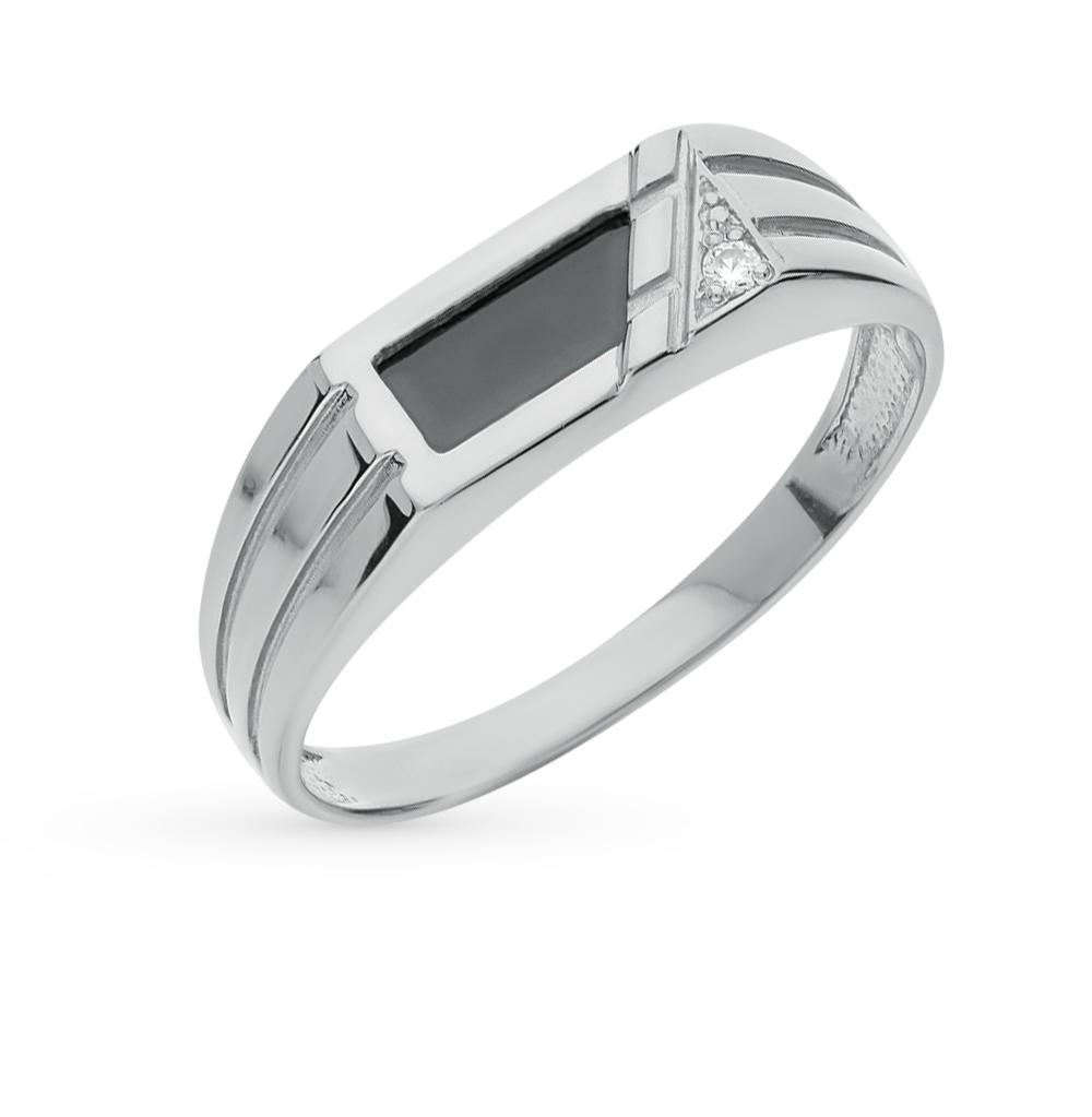 Фото «серебряное кольцо с фианитами и ониксом»