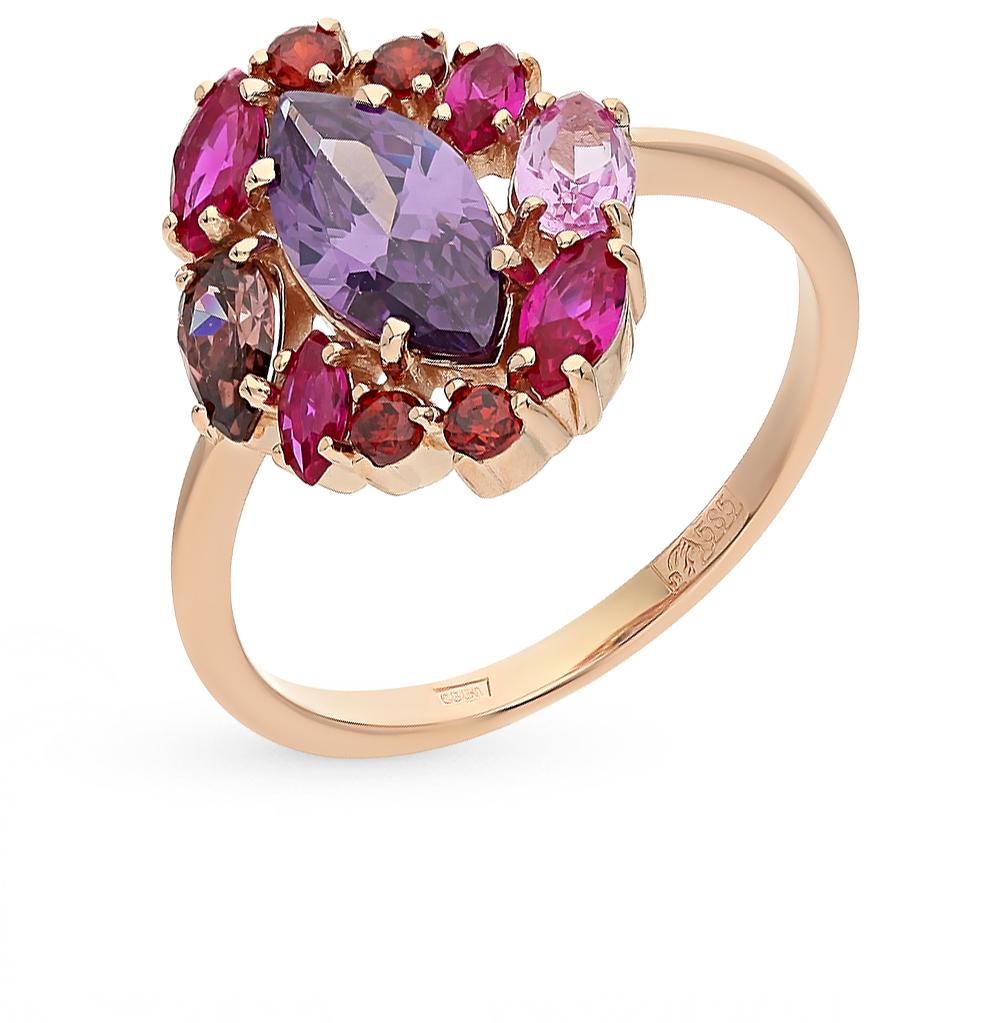 Фото «золотое кольцо с корундом, аметистом, фианитами и родолитами»