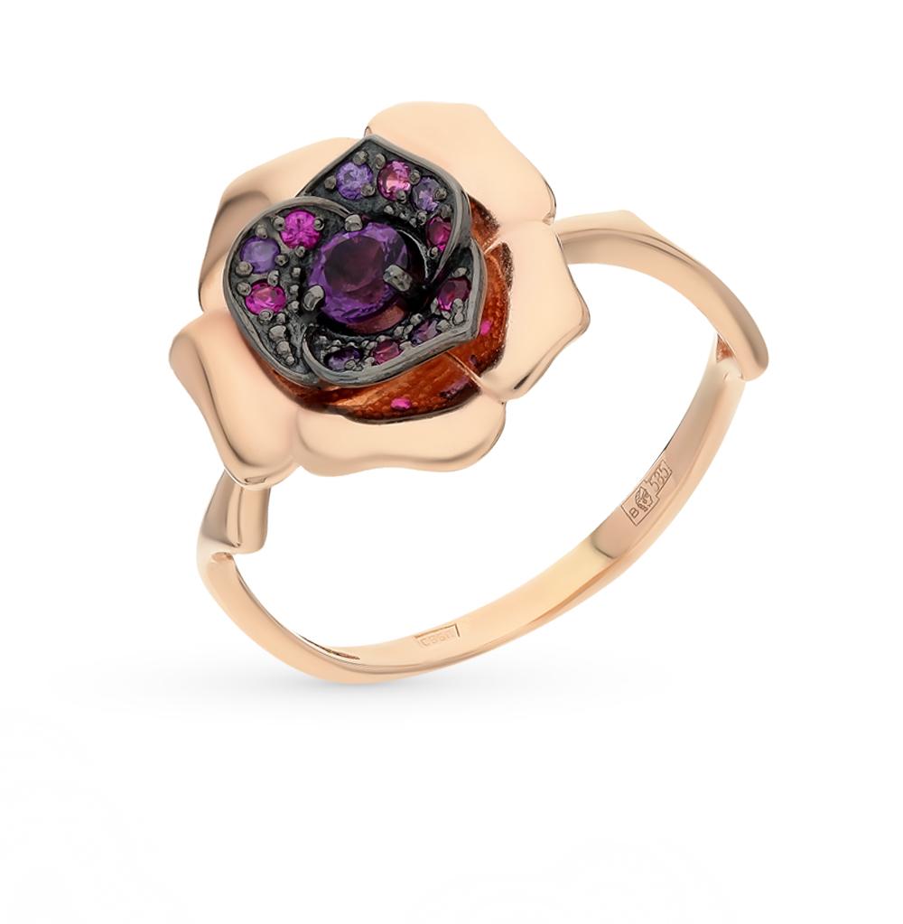 Фото «золотое кольцо с корундом и аметистом»