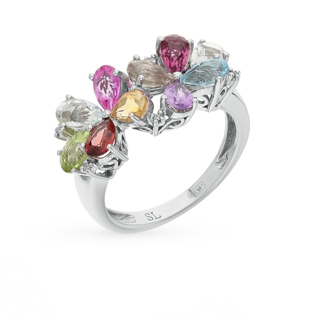 золотое кольцо с бриллиантами, аметистами, гранатами, цитринами, топазами и сапфирами SUNLIGHT