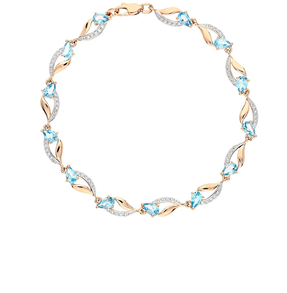 Фото «золотой браслет с топазами и фианитами»