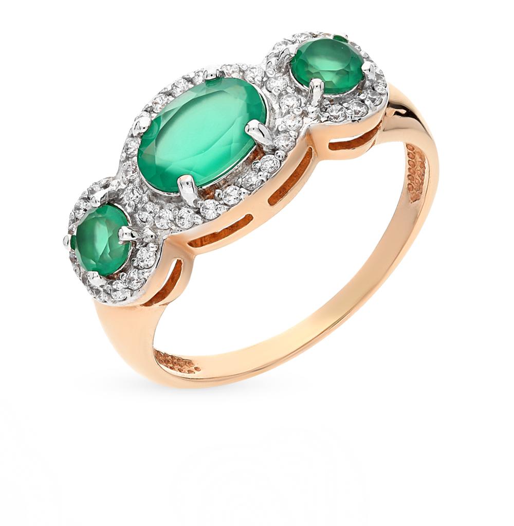 Фото «золотое кольцо с хризопразами и фианитами»