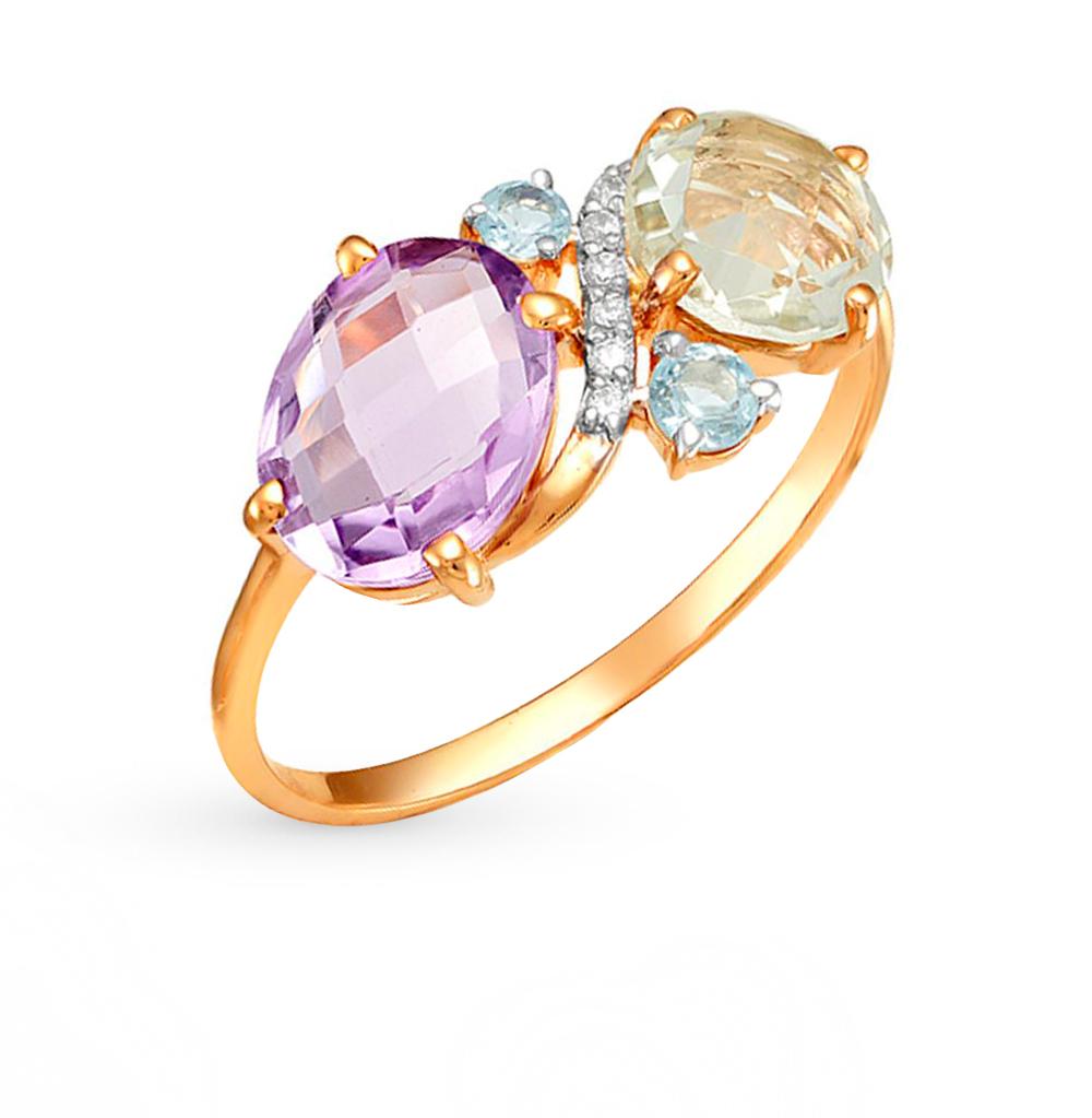 золотое кольцо с бриллиантами, аметистами, цитринами, топазами, фианитами и хризолитами SUNLIGHT