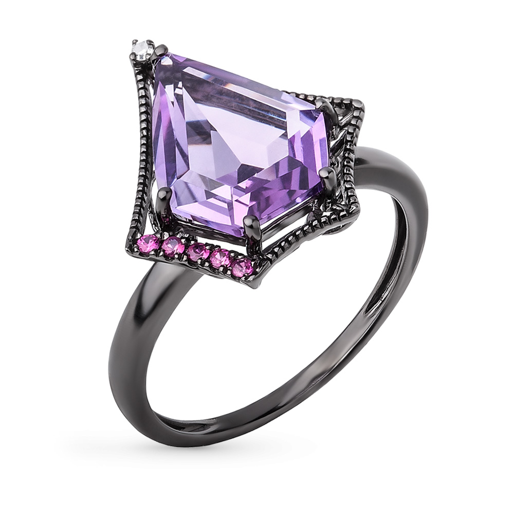 Фото «кольцо с бриллиантами, аметистами и рубинами»