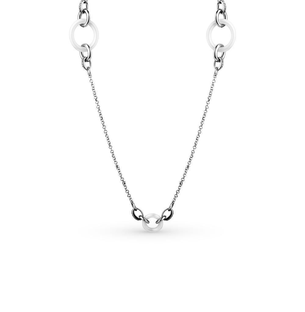 Фото «шейное украшение из серебра и керамики с фианитом»